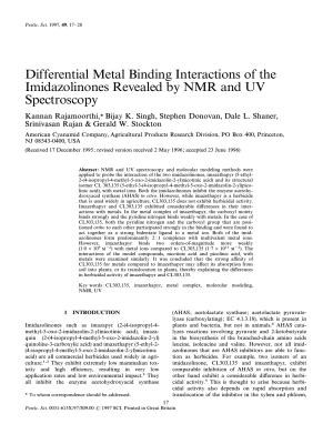 Differential Metal Binding Interactions of the Imidazolinones Revealed by NMR and UV Spectroscopy