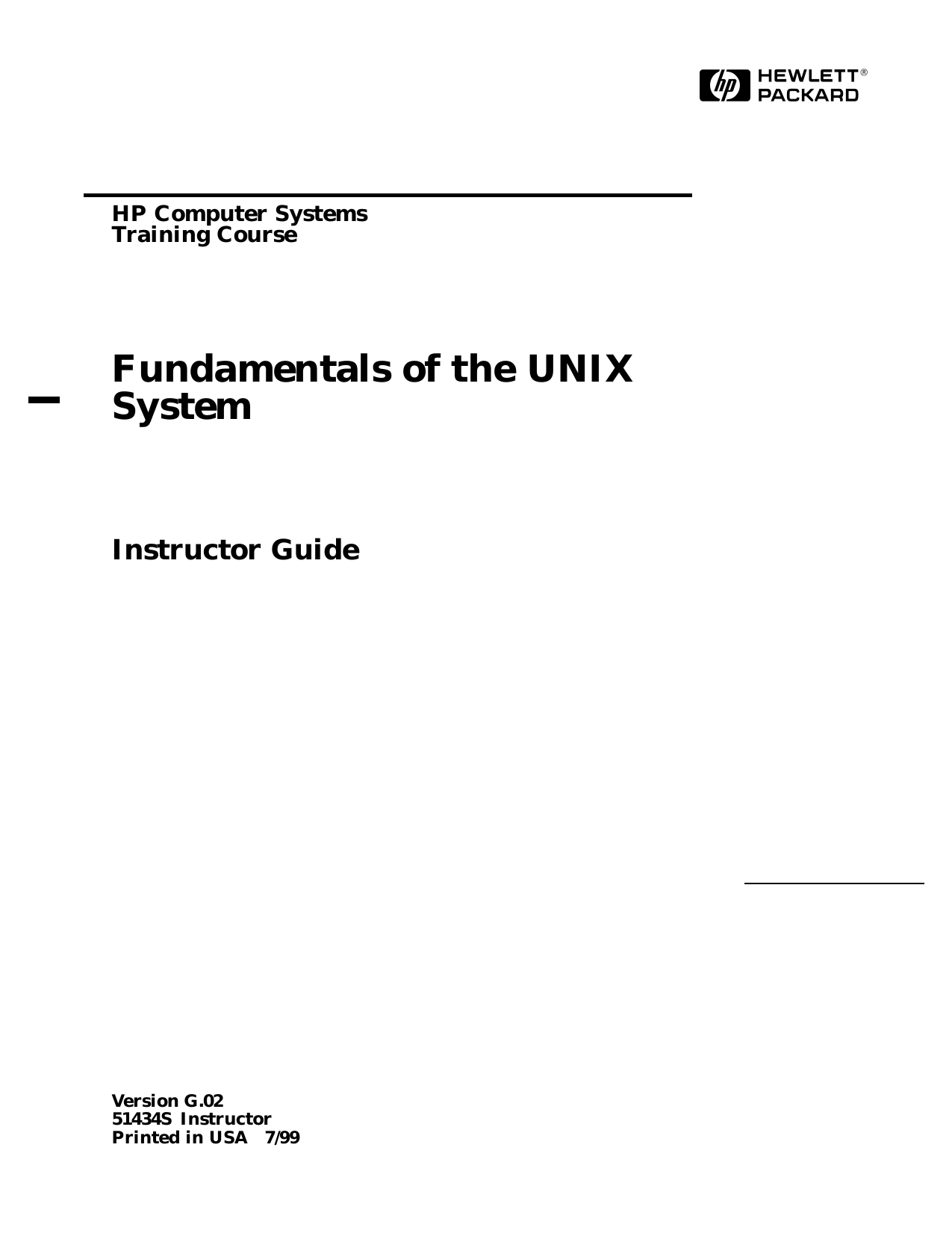 Fundamentals of the UNIX System. Instructor Guide (1999).pdf