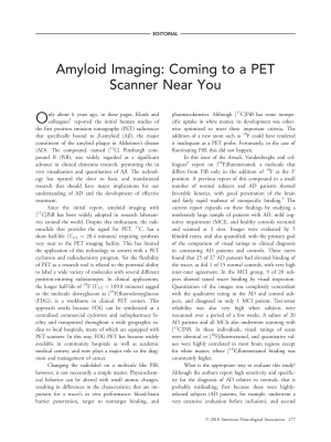 Amyloid imaging  Coming to a PET scanner near you.