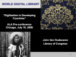 World Digital Library Digitization in Developing Countries