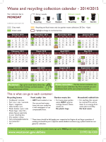 Waste and recycling collection calendar