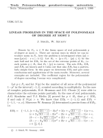 Linear problems in the space of polynomials of degree at most 3.