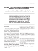 Activated protein C correlates inversely with thrombin levels in resting healthy individuals