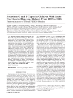 Rotavirus G and P types in children with acute diarrhea in Blantyre  Malawi  from 1997 to 1998 Predominance of novel P[6]G8 Strains