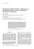 Nematodes and Plant Health Legislation and Sampling Strategies in Decision Making for Nematode Management