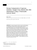 Energy components of aqueous solution Insight from hybrid QMMM simulations using a polarizable solvent model