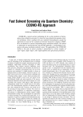 Fast solvent screening via quantum chemistry  COSMO-RS approach.