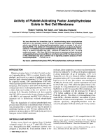 Activity of platelet-activating factor acetylhydrolase exists in red cell membrane.