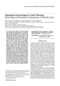 Population screening for cystic fibrosis Knowledge and emotional consequences 18 months later.