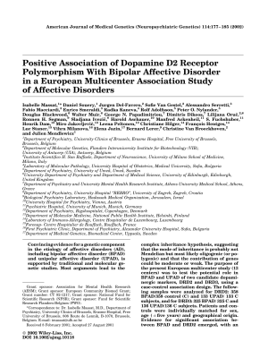 Positive association of dopamine D2 receptor polymorphism with bipolar affective disorder in a European multicenter association study of affective disorders.