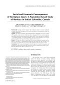 Social and economic consequences of workplace injury A population-based study of workers in British Columbia  Canada.