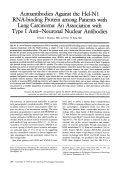 Autoantibodies against the Hel-N1 RNA-binding protein among patients with lung carcinoma  An association with type I antiЦneuronal nuclear antibodies.
