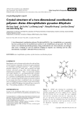 Crystallographic report  Crystal structure of a two-dimensional coordination polymer  dizinc diterephthalate pyrazine dihydrate.