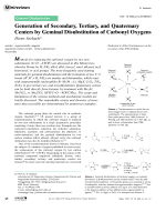 Generation of Secondary  Tertiary  and Quaternary Centers by Geminal Disubstitution of Carbonyl Oxygens.