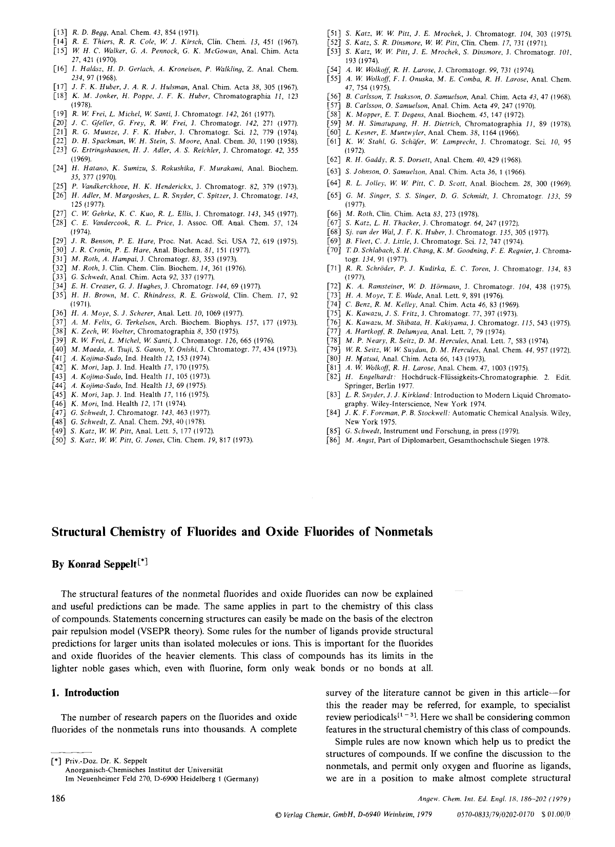 Structural Chemistry Of Fluorides And Oxide Fluorides Of Nonmetals