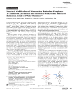Structural Modifications of Mononuclear Ruthenium Complexes  A Combined Experimental and Theoretical Study on the Kinetics of Ruthenium-Catalyzed Water Oxidation.