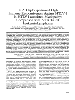 HLA haplotype-linked high immune responsiveness against HTLV-I in HTLV-I-associated myelopathy  Comparison with adult T-cell leukemialymphoma.