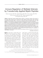 Immune regulation of multiple sclerosis by transdermally applied myelin peptides.