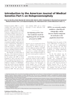 Introduction to the American Journal of Medical Genetics Part C on holoprosencephaly.