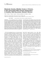 Moderate anxiety  whether acute or chronic  is not associated with ovarian suppression in healthy  well-nourished  Western women.