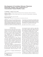 Development of correlation between potassium hydroxide number and conductivity of concentrated natural rubber latex.