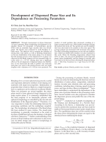Development of dispersed phase size and its dependence on processing parameters.