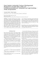 Non-catalytic anhydride curing of hydrogenated bisphenol-A glycidyl ether with 1 2 4-cyclohexanetricarboxylic anhydride and light emitting diode encapsulation.