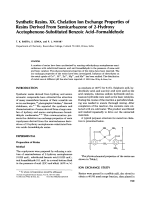 Synthetic resins. XX. Chelation ion exchange properties of resins derived from semicarbazone of 2-hydroxy acetophenone-substituted benzoic acidЦformaldehyde