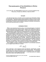 Thermodynamics of gas solubilities in molten polymers.
