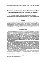 Treatment for improving flame retardancy of wool and minimizing toxic gas evolution in burning.