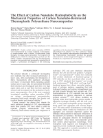 The effect of carbon nanotube hydrophobicity on the mechanical properties of carbon nanotube-reinforced thermoplastic polyurethane nanocomposites.