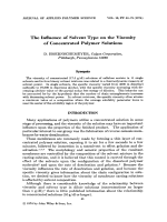 The influence of solvent type on the viscosity of concentrated polymer solutions.