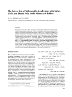 The interaction of sulfenamide accelerators with sulfur  ZNO  and stearic acid in the absence of rubber.