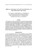 Influence of structure of cyclic urea derivatives on their reactivities with cotton.