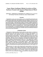 Vapor-phase grafting of methyl acrylate on fiber surfaces treated with aqueous dispersions of metal oxides.