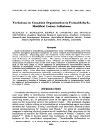 Variations in crosslink organization in formaldehyde-modified cotton celluloses.