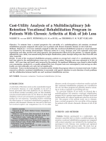 Cost-utility analysis of a multidisciplinary job retention vocational rehabilitation program in patients with chronic arthritis at risk of job loss.