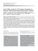 Cost-utility analysis of treatment strategies in patients with recent-onset rheumatoid arthritis.