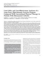 Cost-utility and cost-effectiveness analyses of a long-term high-intensity exercise program compared with conventional physical therapy in patients with rheumatoid arthritis.