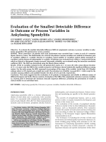 Evaluation of the smallest detectable difference in outcome or process variables in ankylosing spondylitis.