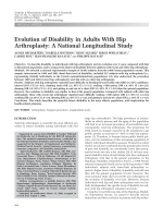 Evolution of disability in adults with hip arthroplastyA national longitudinal study.