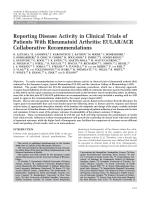 Reporting disease activity in clinical trials of patients with rheumatoid arthritisEULARACR collaborative recommendations.