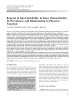 Reports of joint instability in knee osteoarthritisIts prevalence and relationship to physical function.