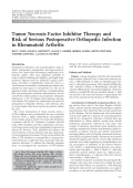 Tumor necrosis factor inhibitor therapy and risk of serious postoperative orthopedic infection in rheumatoid arthritis.