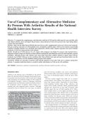Use of complementary and alternative medicine by persons with arthritisResults of the National Health Interview Survey.