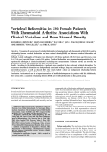 Vertebral deformities in 229 female patients with rheumatoid arthritisAssociations with clinical variables and bone mineral density.
