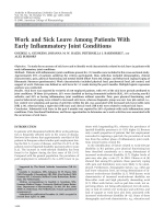 Work and sick leave among patients with early inflammatory joint conditions.