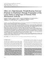 Effect of a high-intensity weight-bearing exercise program on radiologic damage progression of the large joints in subgroups of patients with rheumatoid arthritis.