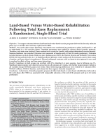 Land-based versus water-based rehabilitation following total knee replacementA randomized single-blind trial.