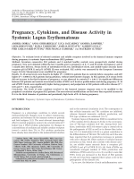 Pregnancy cytokines and disease activity in systemic lupus erythematosus.